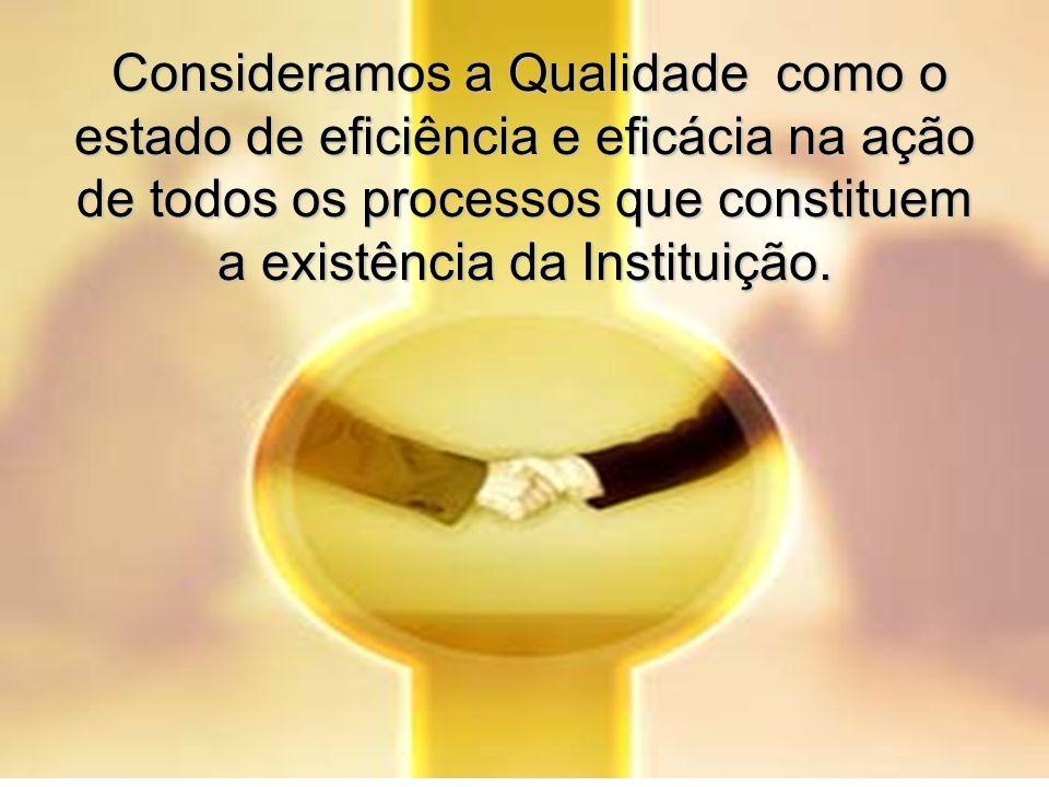 Consideramos a Qualidade como o estado de eficiência e eficácia na ação de todos os processos que constituem a existência da Instituição.