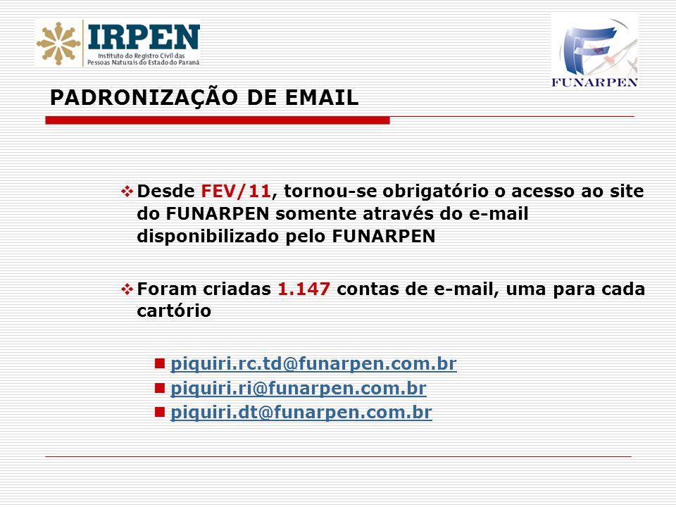 PADRONIZAÇÃO DE EMAILDesde FEV/11, tornou-se obrigatório o acesso ao site do FUNARPEN somente através do e-mail disponibilizado pelo FUNARPEN.
