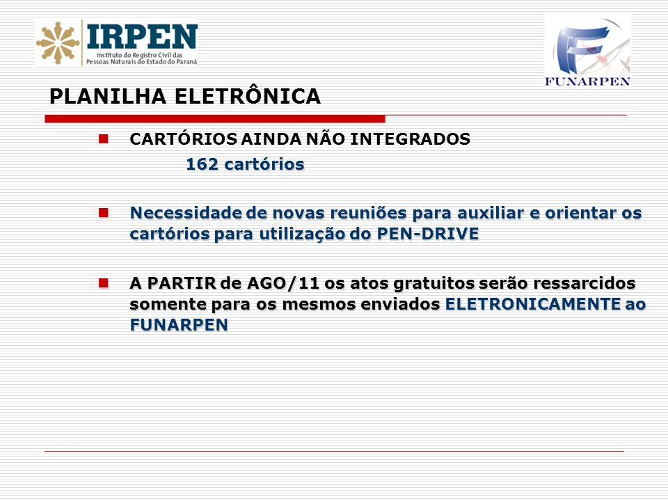 PLANILHA ELETRÔNICA CARTÓRIOS AINDA NÃO INTEGRADOS 162 cartórios