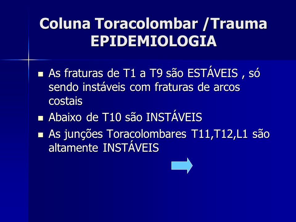 Coluna Toracolombar /Trauma EPIDEMIOLOGIA