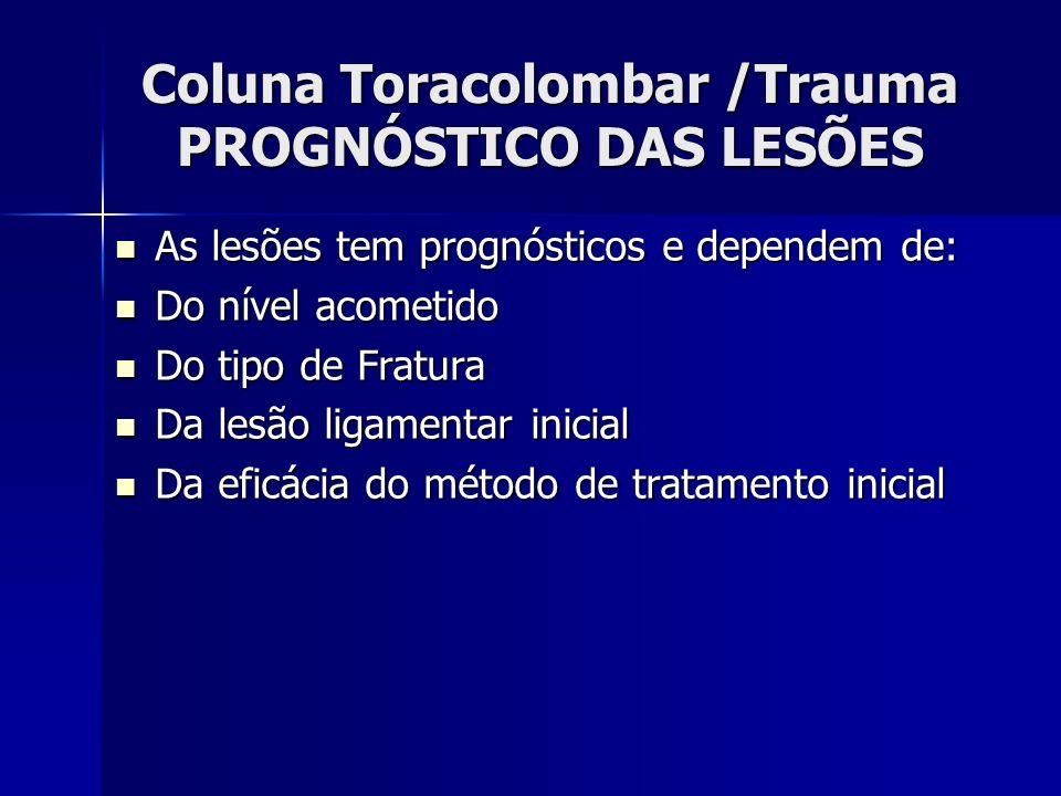 Coluna Toracolombar /Trauma PROGNÓSTICO DAS LESÕES