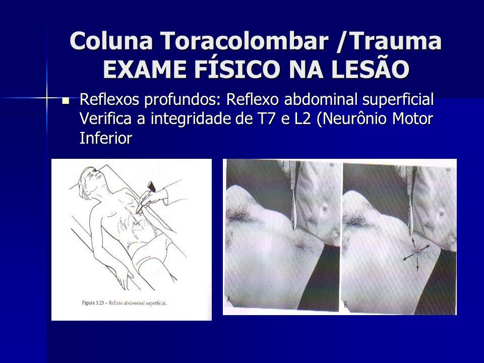 Coluna Toracolombar /Trauma EXAME FÍSICO NA LESÃO