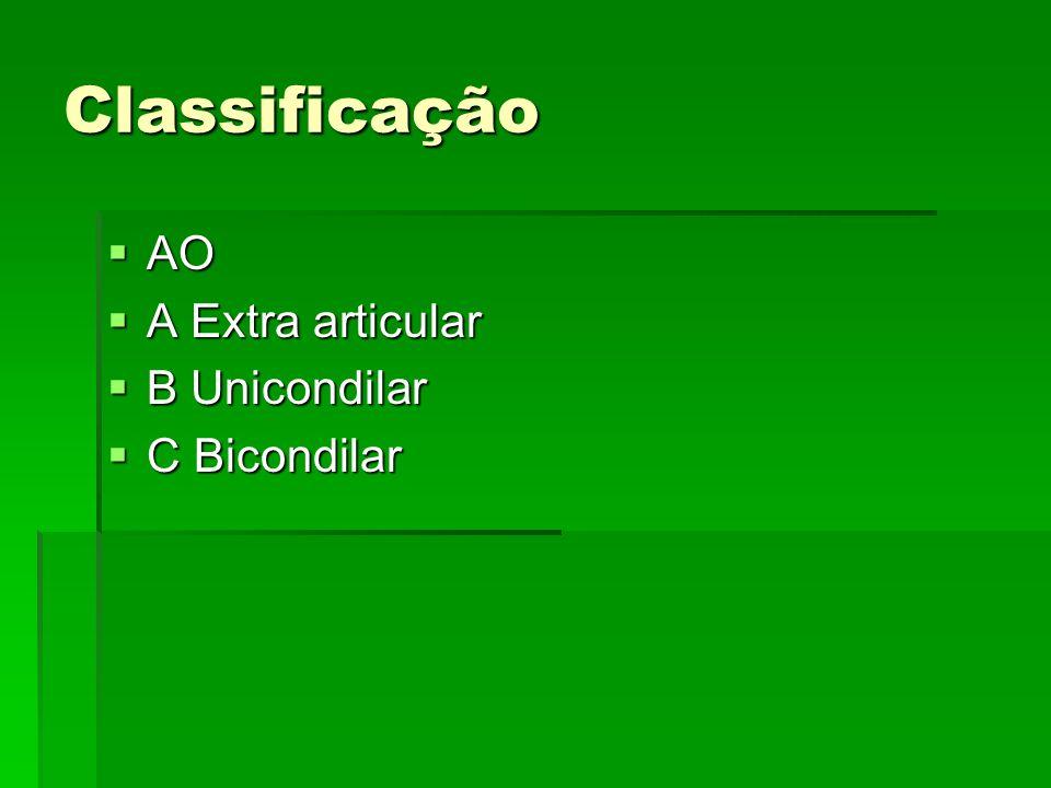 Classificação AO A Extra articular B Unicondilar C Bicondilar