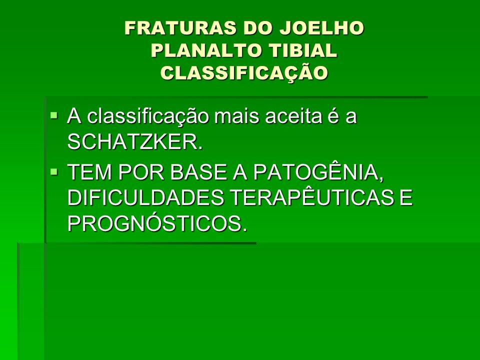 FRATURAS DO JOELHO PLANALTO TIBIAL CLASSIFICAÇÃO