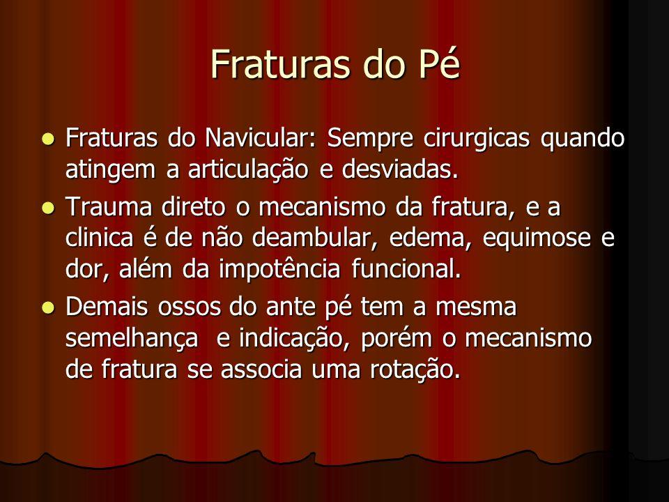Fraturas do PéFraturas do Navicular: Sempre cirurgicas quando atingem a articulação e desviadas.