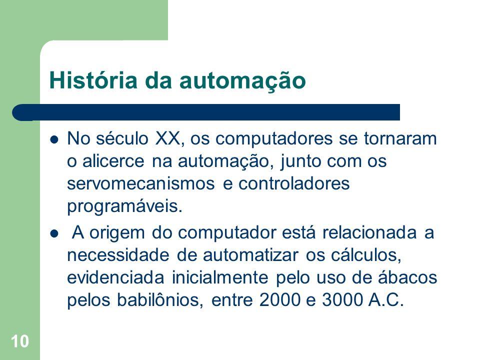 História da automação No século XX, os computadores se tornaram o alicerce na automação, junto com os servomecanismos e controladores programáveis.