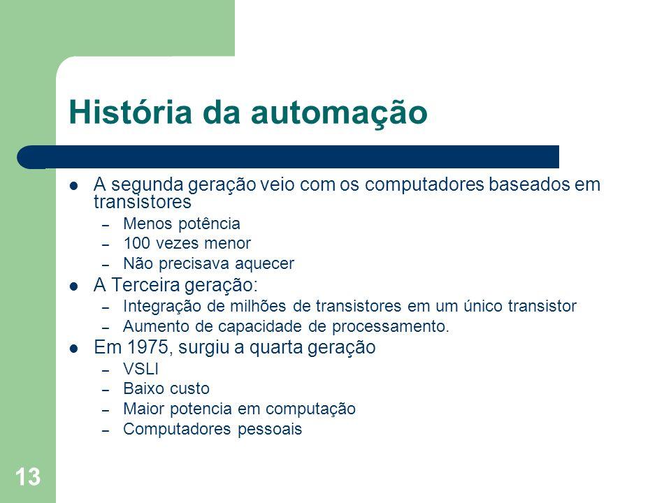 História da automação A segunda geração veio com os computadores baseados em transistores. Menos potência.