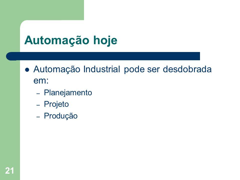 Automação hoje Automação Industrial pode ser desdobrada em: