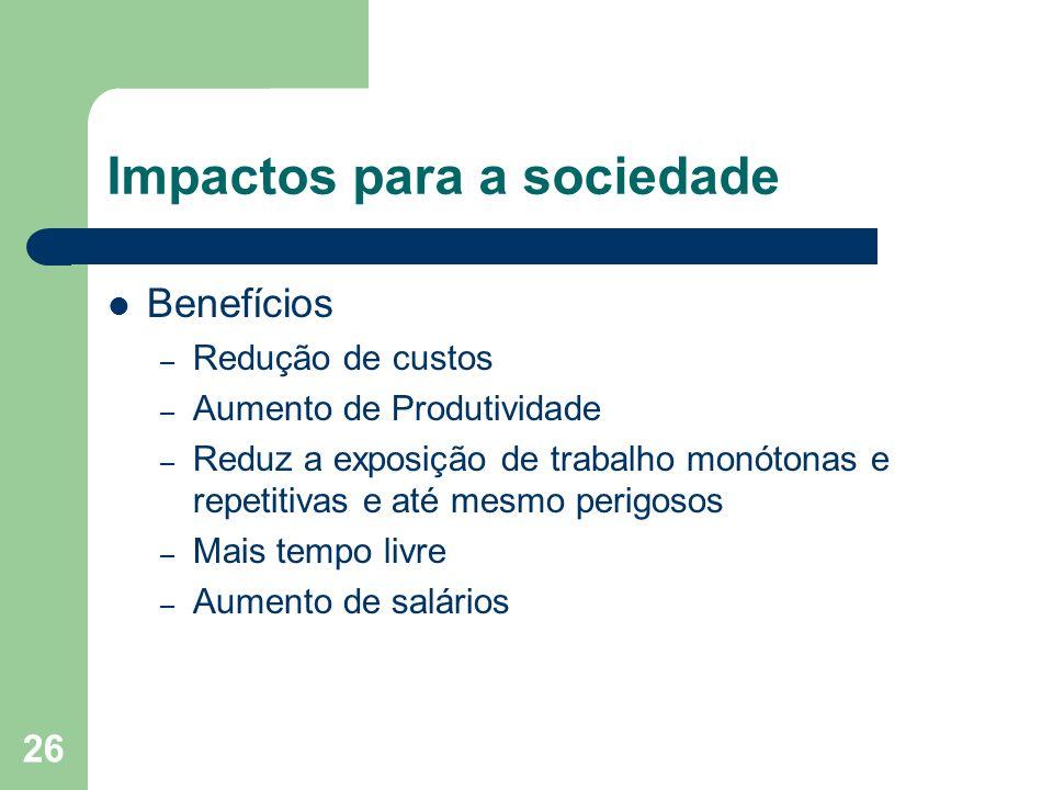 Impactos para a sociedade