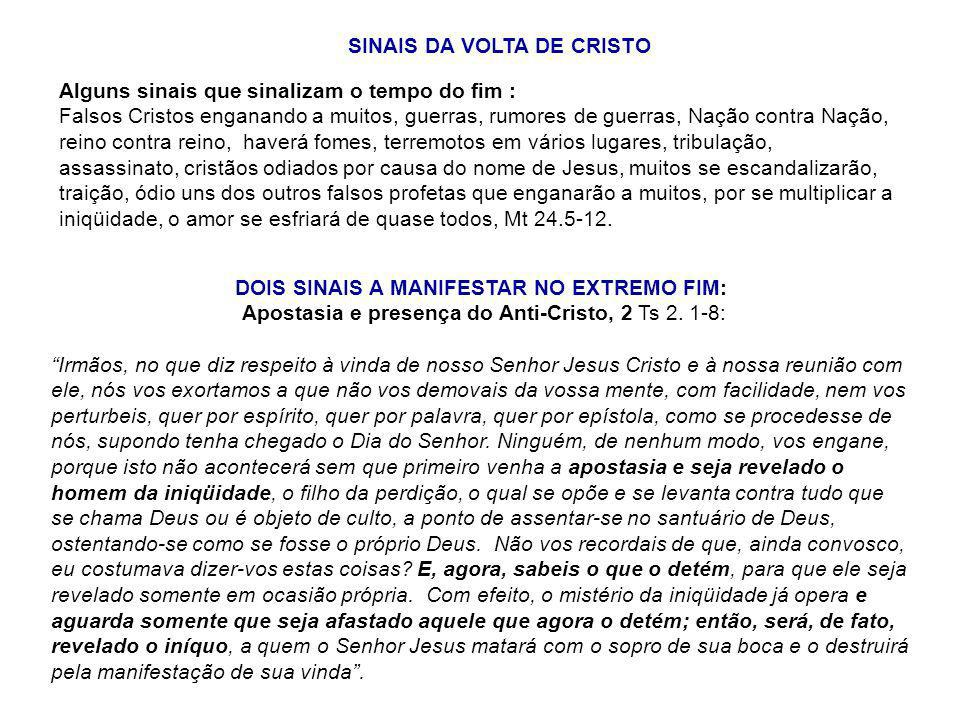 SINAIS DA VOLTA DE CRISTO DOIS SINAIS A MANIFESTAR NO EXTREMO FIM: