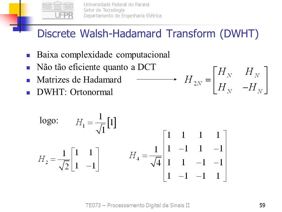 Discrete Walsh-Hadamard Transform (DWHT)