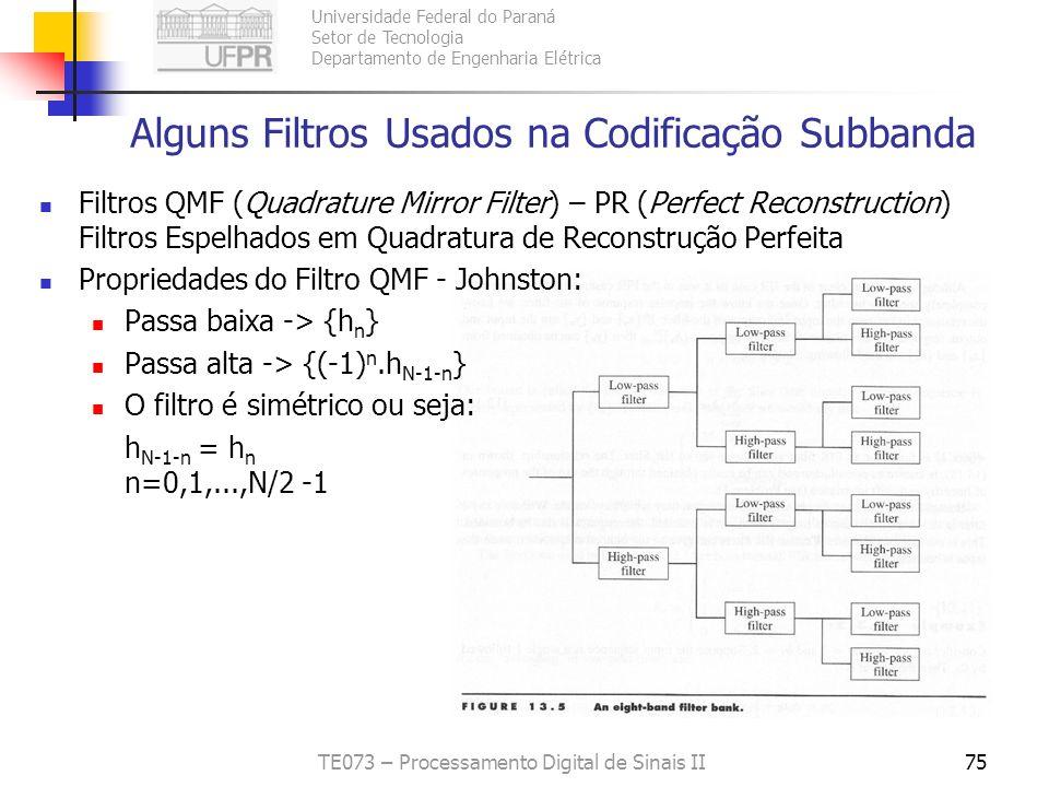 Alguns Filtros Usados na Codificação Subbanda