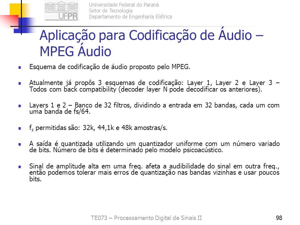 Aplicação para Codificação de Áudio – MPEG Áudio
