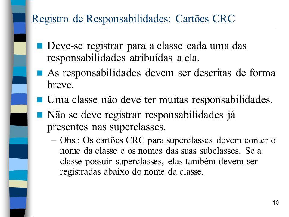 Registro de Responsabilidades: Cartões CRC