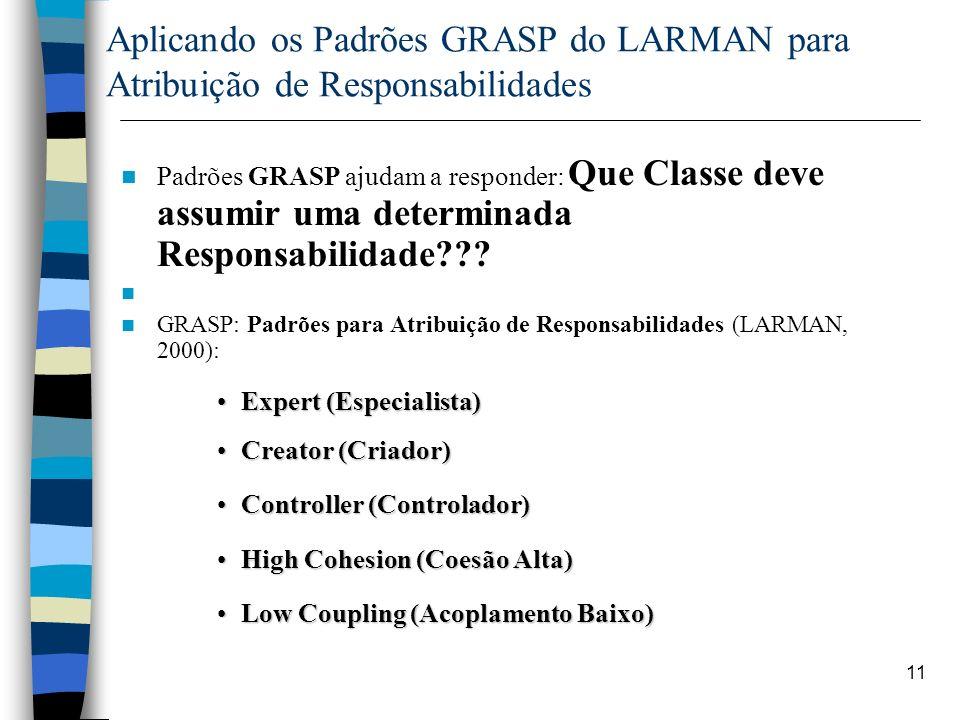 Aplicando os Padrões GRASP do LARMAN para Atribuição de Responsabilidades