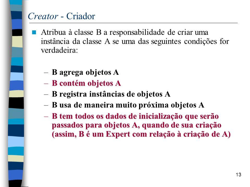 Creator - Criador Atribua à classe B a responsabilidade de criar uma instância da classe A se uma das seguintes condições for verdadeira: