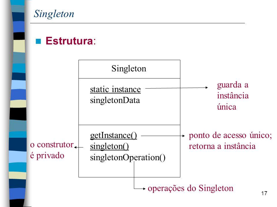 Singleton Estrutura: Singleton guarda a instância única