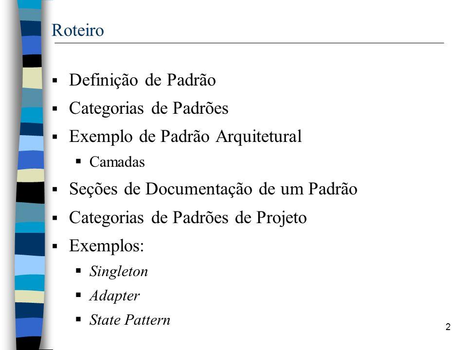 Exemplo de Padrão Arquitetural Seções de Documentação de um Padrão