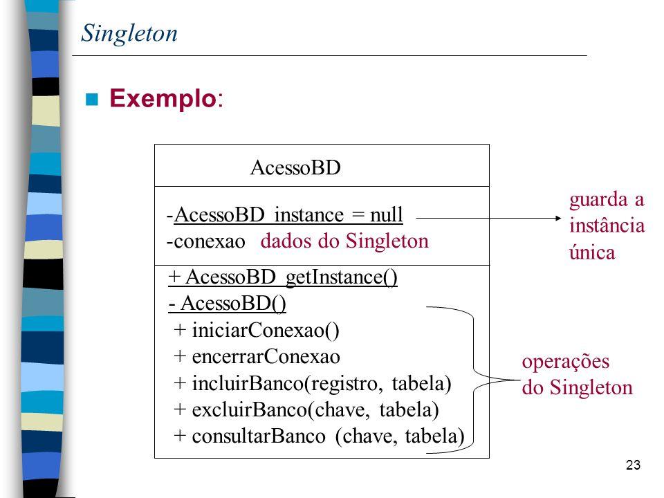 Singleton Exemplo: AcessoBD guarda a instância