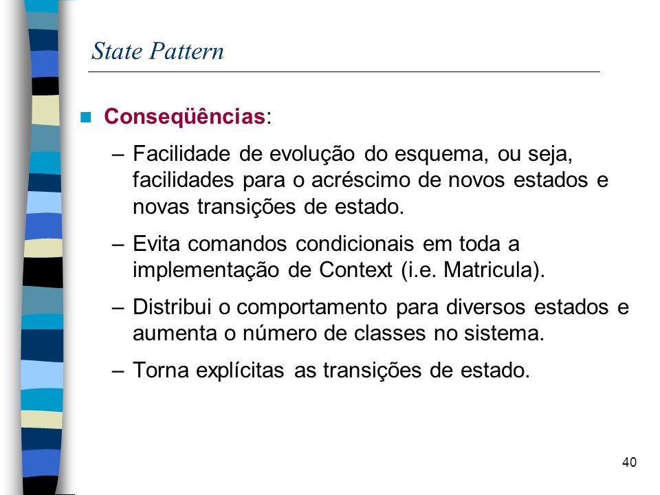 State Pattern Conseqüências: