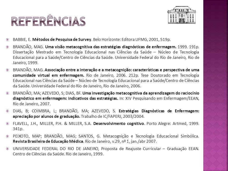 Referências BABBIE, E. Métodos de Pesquisa de Survey. Belo Horizonte: Editora UFMG, 2001, 519p.