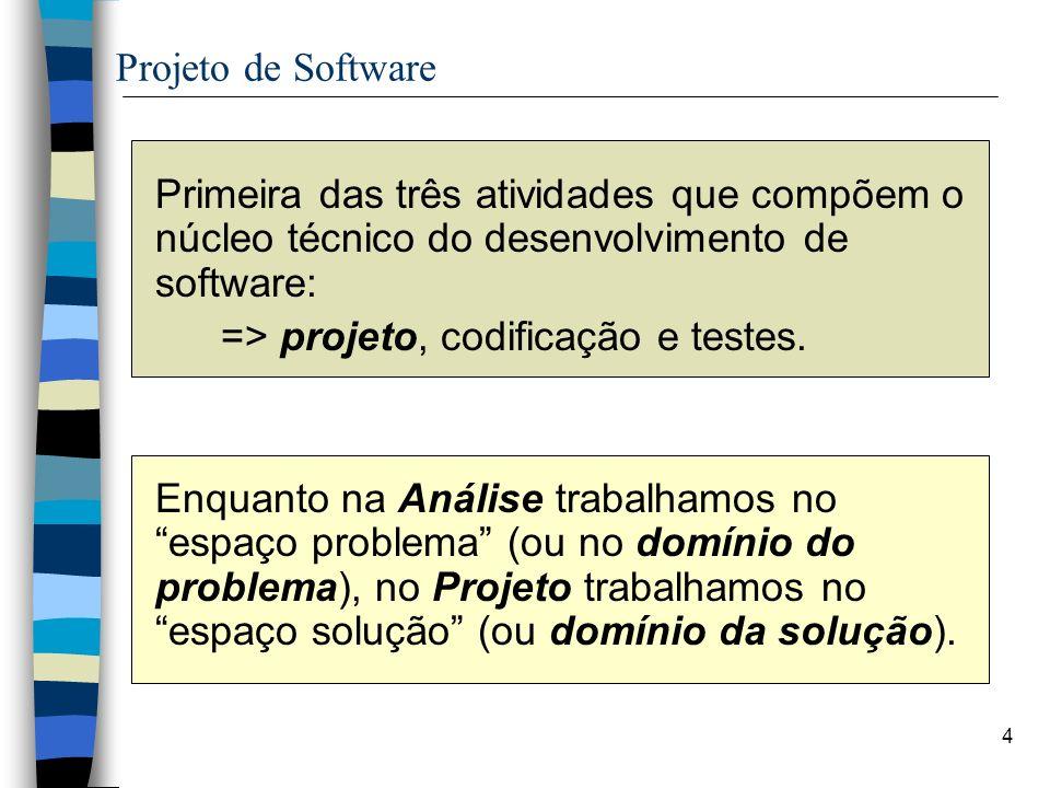 => projeto, codificação e testes.