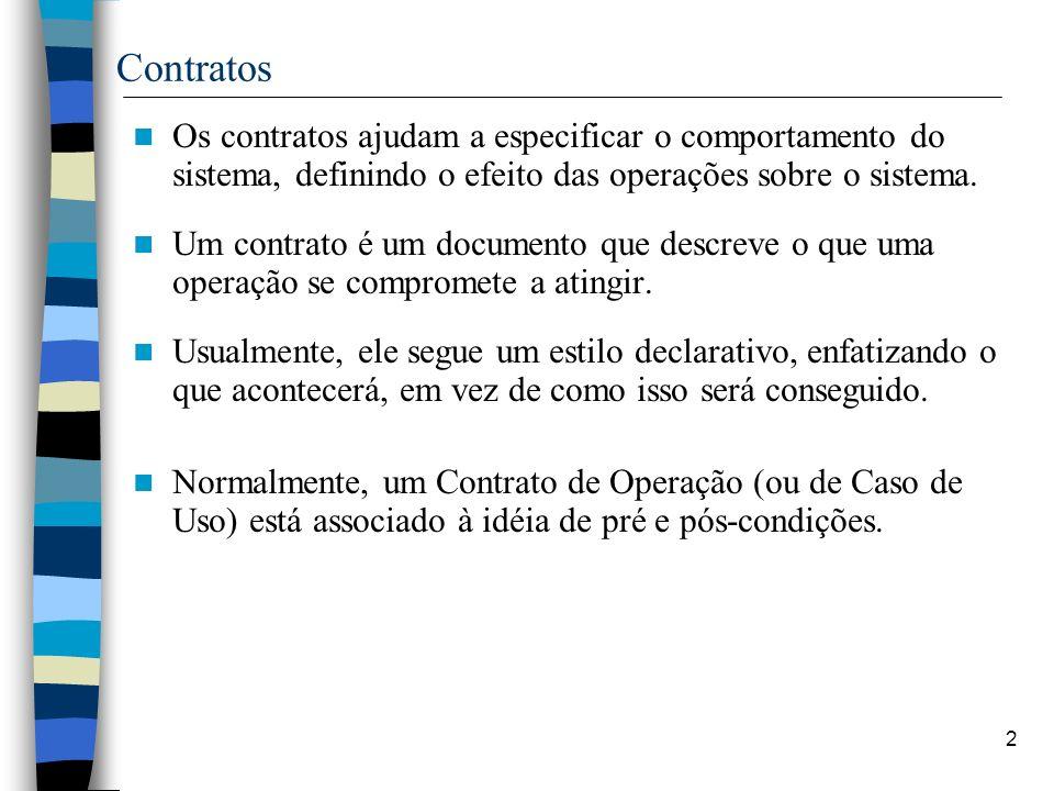 Contratos Os contratos ajudam a especificar o comportamento do sistema, definindo o efeito das operações sobre o sistema.