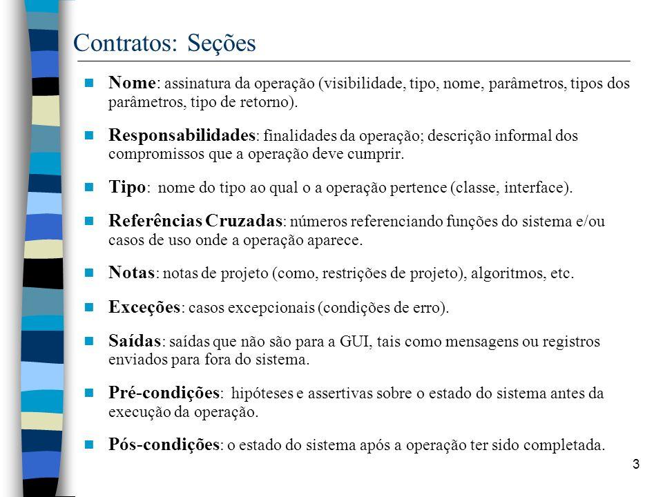 Contratos: Seções Nome: assinatura da operação (visibilidade, tipo, nome, parâmetros, tipos dos parâmetros, tipo de retorno).