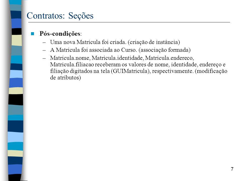 Contratos: Seções Pós-condições: