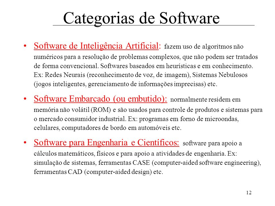 Categorias de Software
