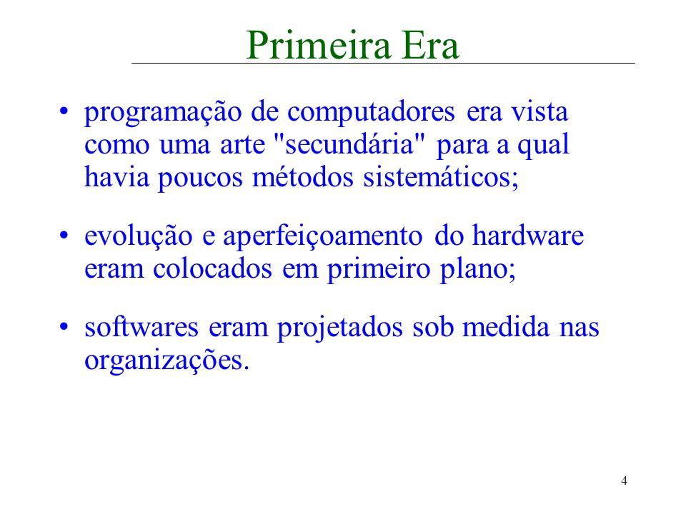 Primeira Era programação de computadores era vista como uma arte secundária para a qual havia poucos métodos sistemáticos;