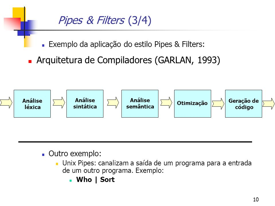 Pipes & Filters (3/4) Arquitetura de Compiladores (GARLAN, 1993)