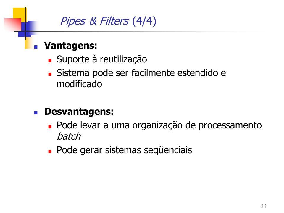 Pipes & Filters (4/4) Vantagens: Suporte à reutilização