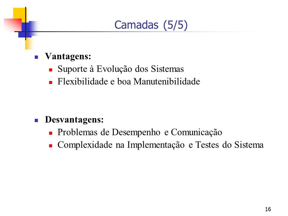 Camadas (5/5) Vantagens: Suporte à Evolução dos Sistemas