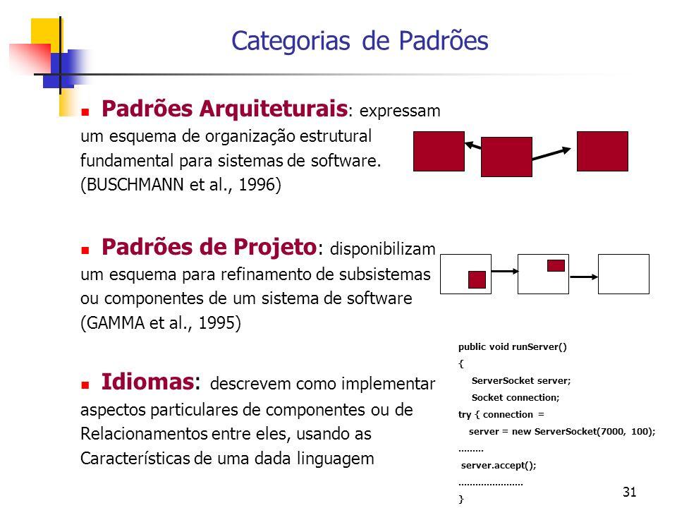 Categorias de Padrões Padrões Arquiteturais: expressam