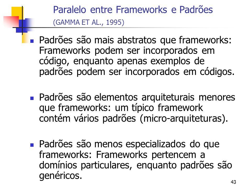Paralelo entre Frameworks e Padrões (GAMMA ET AL., 1995)