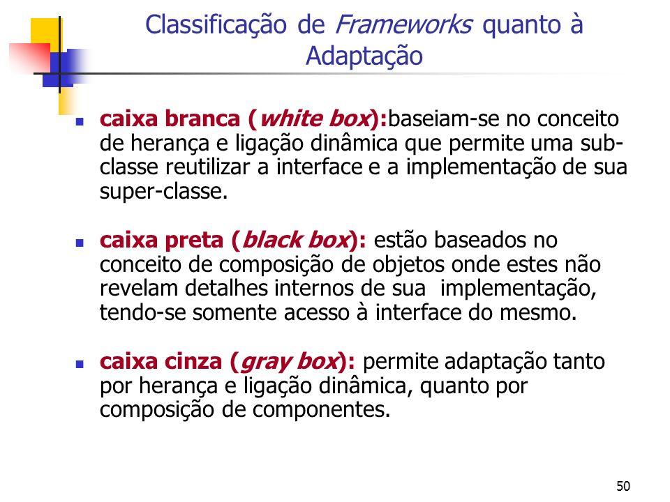 Classificação de Frameworks quanto à Adaptação