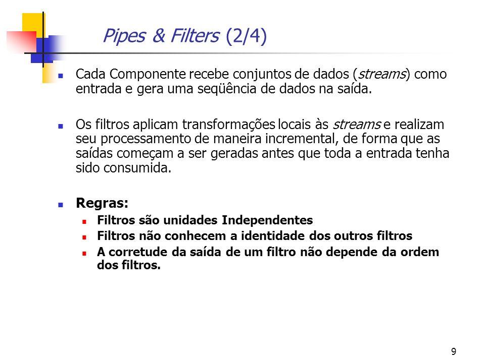 Pipes & Filters (2/4) Cada Componente recebe conjuntos de dados (streams) como entrada e gera uma seqüência de dados na saída.