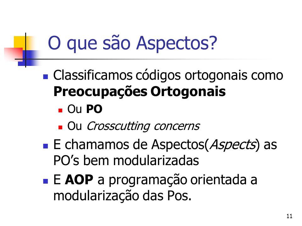 O que são Aspectos Classificamos códigos ortogonais como Preocupações Ortogonais. Ou PO. Ou Crosscutting concerns.