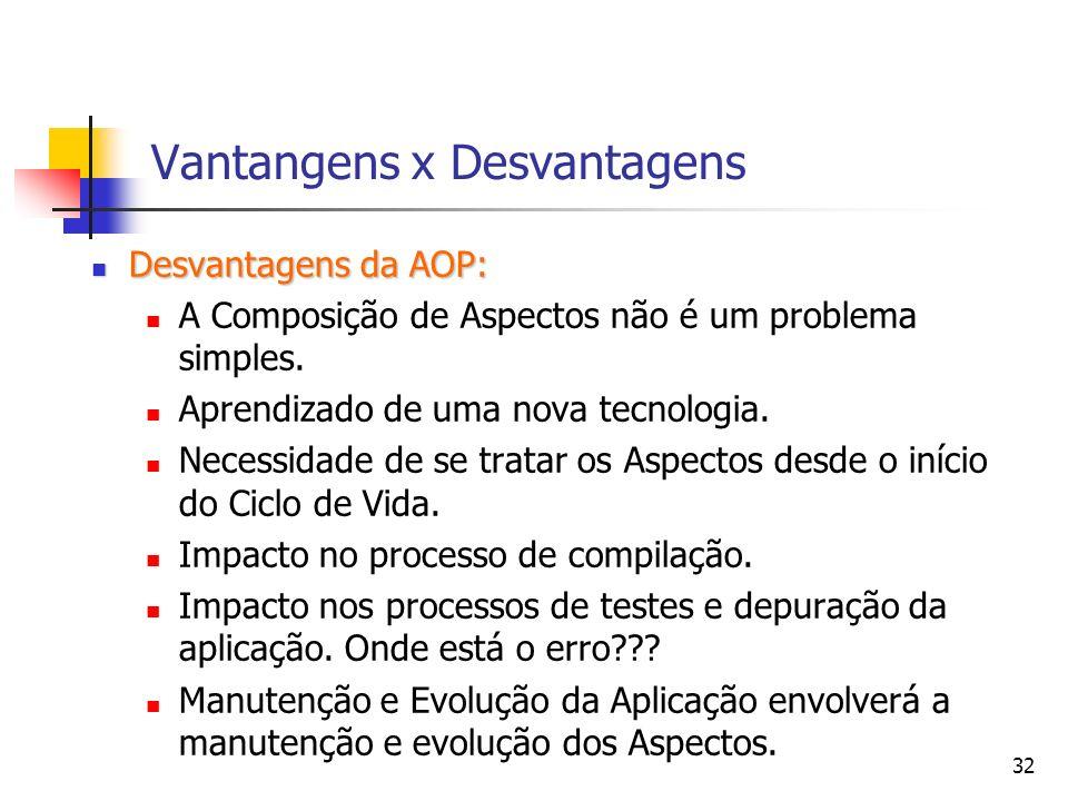 Vantangens x Desvantagens