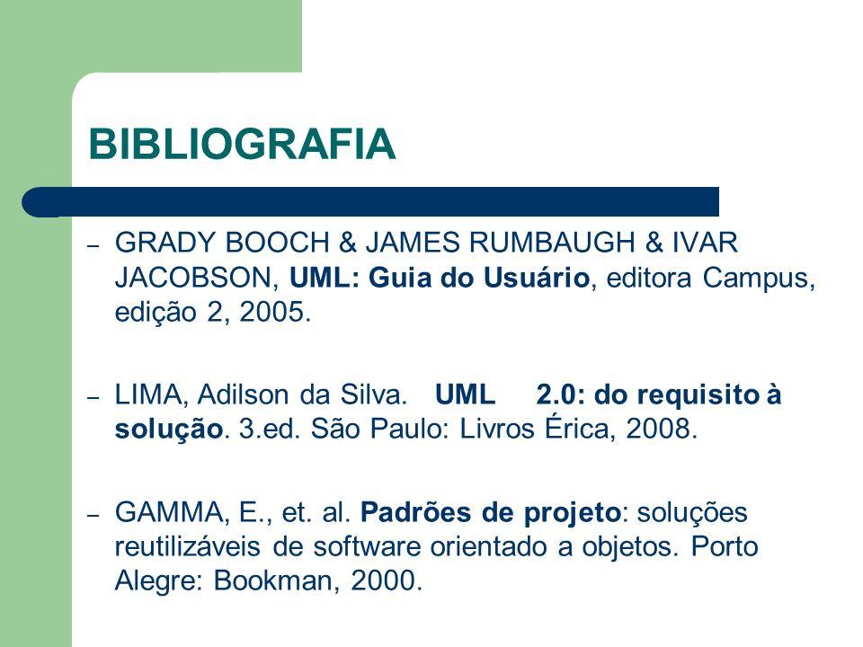 BIBLIOGRAFIA GRADY BOOCH & JAMES RUMBAUGH & IVAR JACOBSON, UML: Guia do Usuário, editora Campus, edição 2, 2005.