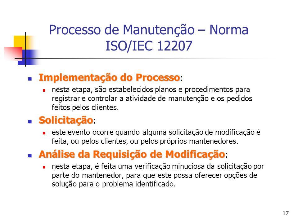 Processo de Manutenção – Norma ISO/IEC 12207