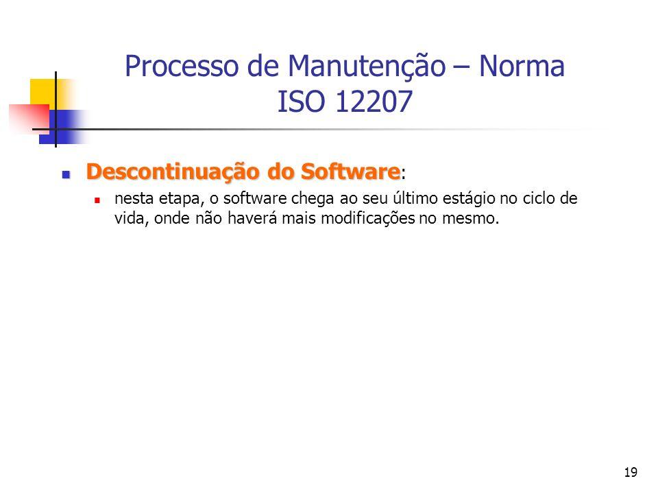 Processo de Manutenção – Norma ISO 12207