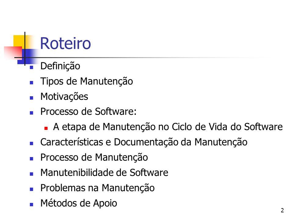 Roteiro Definição Tipos de Manutenção Motivações Processo de Software:
