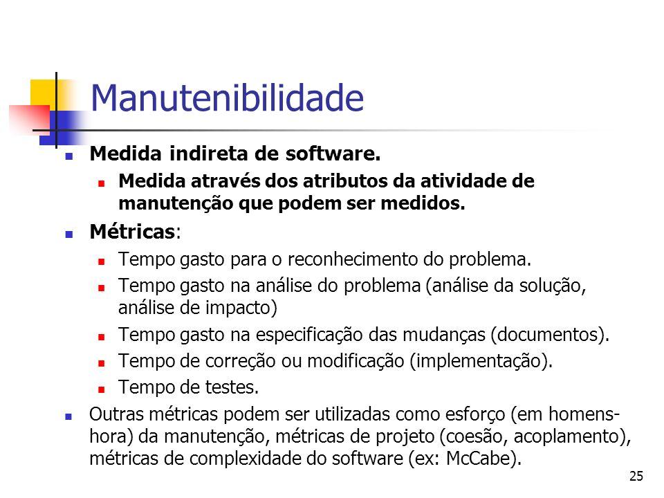 Manutenibilidade Medida indireta de software. Métricas: