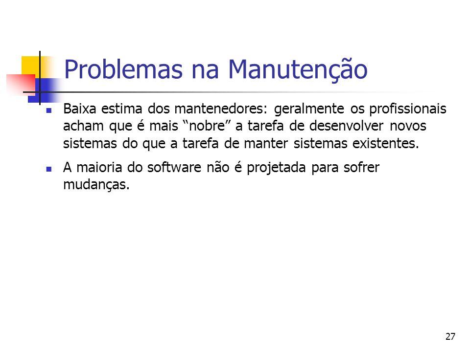 Problemas na Manutenção