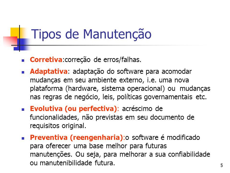 Tipos de Manutenção Corretiva:correção de erros/falhas.