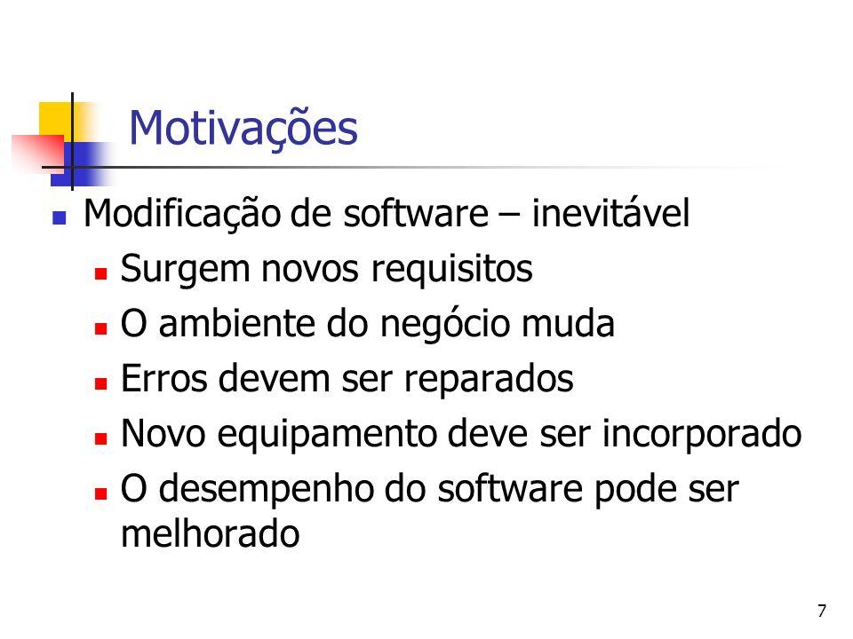 Motivações Modificação de software – inevitável