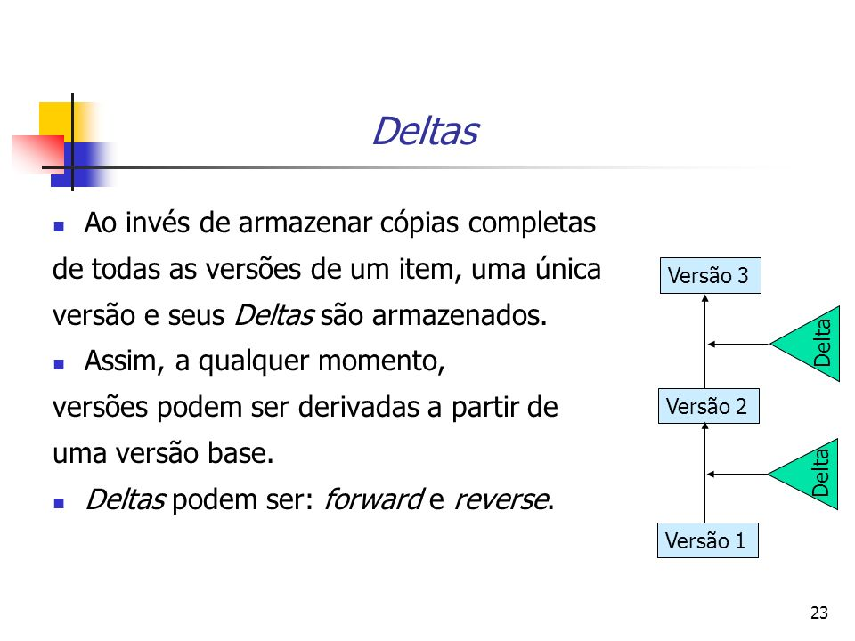 Deltas Ao invés de armazenar cópias completas