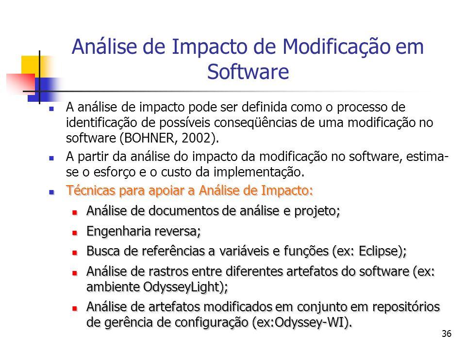 Análise de Impacto de Modificação em Software